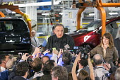 Ontario Canada, Fiat Chrysler Automobiles CEO Sergio Marchionne speaking to reporters at the launch of the 2017 Chrysler Pacifica, Fiat Chrysler Automobiles Windsor Assembly Plant - Jim West - 2010s,2016,African American,African Americans,Assembly,AUTO,auto industry,AUTOMOBILE,AUTOMOBILES,automotive,Automotive Industry,BAME,BAMEs,Black,BME,bmes,boss,bosses,camera,cameras,Canada,car,Car Indu