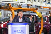 Windsor, Ontario Canada, Jerry Dias pres of Unifor speaking at the launch of the 2017 Chrysler Pacifica, Fiat Chrysler Automobiles Windsor Assembly Plant - Jim West - 2010s,2016,Assembly,AUTO,auto industry,AUTOMOBILE,AUTOMOBILES,automotive,Automotive Industry,boss,bosses,Canada,capitalism,capitalist,car,Car Industry,carindustry,CARS,Chrysler,Chrysler Pacifica,EBF,E