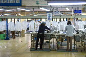 Hanoi Vietnam Workers check the quality of sewing, May 10 Garment Factory. The factory was state owned when it began 29 years ago and is now half-owned by private capital. It makes garments for LExpre... - David Bacon - 15-12-2015
