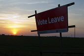 Roadside Vote Leave Campaign poster and sunset on a farm, Warwickshire - John Harris - 2010s,2016,Brexit,campaign,campaigning,CAMPAIGNS,communicating,communication,country,countryside,democracy,EU,Europe,European Union,eurosceptic,Euroscepticism,eurosceptics,farm,farmed,farmland,farms,h