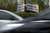UKIP Vote leave EU and save billions sign, Warwickshire - John Harris - 2010s,2016,campaign,campaigning,CAMPAIGNS,communicating,communication,democracy,EU,Europe,European Union,eurosceptic,Euroscepticism,eurosceptics,highway,leave,leaving,people,referendum,ROAD,ROADS,road