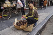 Streetseller selling chestnuts on the street, Hanoi, Vietnam - David Bacon - 2010s,2015,Asia,asian,asians,bicycle,BICYCLES,BICYCLING,Bicyclist,Bicyclists,BIKE,BIKES,chestnut,CYCLE,cycles,CYCLING,Cyclist,Cyclists,EARNINGS,FEMALE,food,FOODS,Hanoi,Income,inequality,living wage,Lo