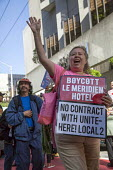 San Francisco USA Hotel workers Unite Here protest the refusal of Le Meridian Hotel to negotiate a contract with the union - David Bacon - 18-05-2016