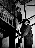 Rebuilding of Coventry Cathedral being completed 1962 more than two decades after the bomb damage World War Two. Installation of the organ pipes at the Cathedral; it took seven men 12 months to comple... - Alex Low - 03-03-1962