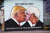 Graffiti depicting Donald Trump kissing Boris Johnson, EU referendum debate, Bristol, Register to vote on the EU referendum now! - Paul Box - 2010s,2016,ACE,american,americans,art,arts,Boris Johnson,Brexit,campaign,campaigning,CAMPAIGNS,candidate,candidates,caricature,cities,City,CONSERVATIVE,Conservative Party,conservatives,culture,DEMOCRA