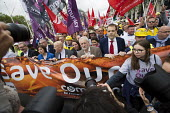Jeremy Corbyn MP with steelworkers marching to demand government support the steel industry, Save Our Steel, Westminster, London. - Jess Hurd - 25-05-2016