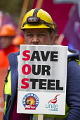 Steelworkers marching to demand government support the steel industry, Save Our Steel, Westminster, London. - Jess Hurd - 25-05-2016