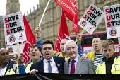 Andy Burnham MP and Dennis Skinner MP with steelworkers marching to demand government support the steel industry, Save Our Steel, Westminster, London. - Jess Hurd - 25-05-2016