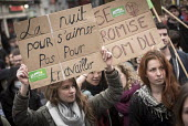 Students protest against proposed labor reforms, France, The night is for love not work. Young ecologists - Jean Claude Moschetti - 31-03-2016