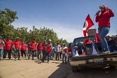 California USA, Jessica Ruiz, leader of the strike speaking to Farmworkers rally after work to show support for their union, the UFW, Klein Management Company. Workers at the company pick blueberries.... - David Bacon - 21-05-2016