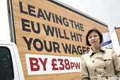 Britain In Stronger Europe, Frances O'Grady, TUC and Vote In campaign with campaign poster, mobile advertisement van, London. TUC Report says Brexit will have a negative impact on wages, jobs and righ... - Jess Hurd - 2010s,2016,advertisement,advertisements,advertising,average,billboard,BILLBOARDS,Brexit,campaign,campaigning,CAMPAIGNS,EARNINGS,EQUALITY,EU,Europe,European Union,FEMALE,Frances O'Grady,HAULAGE,HAULIER