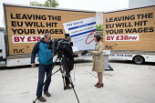 Britain In Stronger Europe, Frances O'Grady, TUC and Vote In campaign with campaign poster, mobile advertisement van, London. TUC Report says Brexit will have a negative impact on wages, jobs and righ... - Jess Hurd - 2010s,2016,advertisement,advertisements,advertising,average,billboard,BILLBOARDS,Brexit,campaign,campaigning,CAMPAIGNS,communicating,communication,EARNINGS,EQUALITY,EU,Europe,European Union,FEMALE,fil