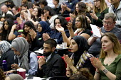 Audience at Prevent, Islamophobia and Civil Liberties Conference, Goldsmiths College, London - Jess Hurd - 2010s,2016,against,Anti Racism,anti racist,applauding,applause,Audience,AUDIENCES,BAME,BAMEs,black,BME,BME black,bmes,College,COLLEGES,conference,conferences,diversity,ethnic,ethnicity,FEMALE,Gareth P