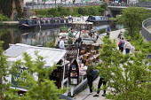 Words on The Water, The London Bookbarge, Jazz band playing on the floating barge bookshop, Regents Canal, Kings Cross, London - Jess Hurd - 2010s,2016,ACE,Arts,band,bands,barge,barges,boat,boats,bookseller,booksellers,bookshop,bookshops,canal,Canal Boat,canal boats,canals,cities,city,Culture,floating,holiday,holiday maker,holiday makers,h