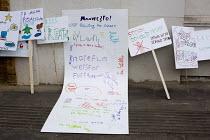 Childrens protest placards, Down With Donald Trump, Stoke Newington Literary Festival, London - Jess Hurd - 2010s,2016,ACE,activist,activists,Arts,CAMPAIGN,campaigner,campaigners,CAMPAIGNING,CAMPAIGNS,child,CHILDHOOD,children,communicating,communication,Culture,DEMONSTRATING,demonstration,DEMONSTRATIONS,Don