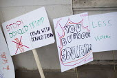 Childrens protest placards, Down With Donald Trump at the Stoke Newington Literary Festival. London - Jess Hurd - 2010s,2016,ACE,activist,activists,Arts,CAMPAIGN,campaigner,campaigners,CAMPAIGNING,CAMPAIGNS,child,CHILDHOOD,children,communicating,communication,Culture,DEMONSTRATING,demonstration,DEMONSTRATIONS,Don