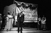 Better Times written by Barrie Keeffe, staged at Theatre Royal Stratford East, London 1985. The play tells the story of the 1921 Poplar Rates Revolt. Mayor Sam March, played by Donald Morley, addresse... - Stefano Cagnoni - 1980s,1985,ACE,act,acting,actor,actors,actress,actresses,arts,cities,city,culture,DEMONSTRATING,demonstration,Donald Morley,drama,DRAMATIC,entertainment,explaining,FEMALE,historical drama,London,Mayor