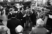 BPCC Park Royal, printers of the Radio Times, 1983. Robert Maxwell in heated discussion with Trade Union rep Peter Willliams, SOGAT Father of the Chapel at the printing plant. Following strike action,... - Stefano Cagnoni - 1980s,1983,ACTIVIST,ACTIVISTS,ARGUE,ARGUING,argument,arms raised,boss,bosses,businessman,businessmen,CAMPAIGN,campaigner,campaigners,CAMPAIGNING,CAMPAIGNS,capitalism,capitalist,chapel,communicating,co