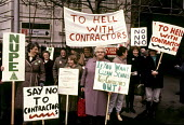 1984 NUPE members protest at losing their jobs to lower paid external contractors, County Hall, Maidstone Kent - Stefano Cagnoni - 1980s,1984,activist,activists,CAMPAIGN,campaigner,campaigners,CAMPAIGNING,CAMPAIGNS,cities,City,cleaner,cleaners,CLEANING,cleansing,contract,CONTRACTOR,contractors,DEMONSTRATING,demonstration,DEMONSTR
