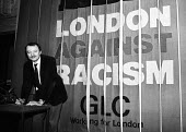 Ken Livingstone, Leader of the Greater London Council, signing a declaration against racism, County Hall at the start of the GLC Year Against Racism, 1984 - Stefano Cagnoni - 04-01-1984