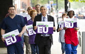 Dave Prentis, Unison Gen Sec and health workers with Unison Vote Remain, Don't Risk Our NHS banner, Unison HQ, Euston, London - Jess Hurd - 2010s,2016,campaign,campaigning,CAMPAIGNS,care,Dave Prentis,democracy,EU,European Union,Euston,health,HEALTH SERVICES,healthcare,HQ,London,member,member members,members,NATIONAL HEALTH SERVICE,NHS,peo