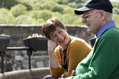 Caring for the elderly, Sunday day out Ironbridge, Shropshire - John Harris - 2010s,2016,adult,adults,age,ageing population,Caring,communicating,communication,conversation,conversations,dialogue,discourse,discuss,discusses,discussing,discussion,elderly,FEMALE,funny,holiday,holi
