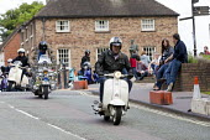 Scooter riders set off, day out, Ironbridge, Shropshire - John Harris - 2010s,2016,enjoy,enjoying,enjoyment,enthusiasm,enthusiastic,hobbies,hobby,hobbyist,holiday,holidays,Ironbridge,Leisure,LFL,LIFE,mod,mods,PEOPLE,RECREATION,RECREATIONAL,rider,riders,riding,scooter,scoo