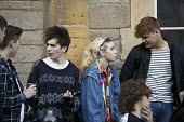 Teenagers talking, Alcester Warwickshire - John Harris - 2010s,2016,adolescence,adolescent,adolescents,alcohol,boy,boyfriend,BOYFRIENDS,boys,child,CHILDHOOD,children,communicating,communication,conversation,conversations,dialogue,discourse,discuss,discusses