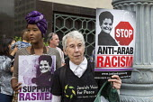 Detroit, Michigan USA, Protest in support of Palestinian American activist Rasmea Odeh as a federal judge considers her request for a new trial. In 2015, Odeh was convicted of lying on her 2004 applic... - Jim West - 13-06-2016
