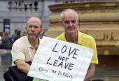 Memorial event to celebrate the life of murdered Labour MP, Jo Cox. Love Like Jo, Trafalgar Square, London. Love Not Leave placard held up by supporters of the Remain camp in the EU referendum - Stefano Cagnoni - 2010s,2016,brexit,camp,camps,celebrate,CELEBRATING,COMMEMORATE,COMMEMORATING,commemoration,COMMEMORATIONS,death,deaths,died,grief,grieving,Jo Cox,kill,killed,killing,Labour MP,Labour Party,Leave,Londo