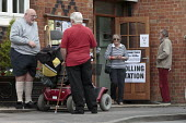 High turn out of voters, referendum on membership of the European Union, vote Remain or Leave, Polling Station, Wellesbourne, Warwickshire - John Harris - 2010s,2016,adult,adults,age,ageing population,ballot,BALLOTING,ballots,Brexit,democracy,disabilities,disability,disable,disabled,disablement,elderly,EU,Europe,European Union,FEMALE,incapacity,Leave,ma