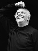 Dario Fo, Itallian actor, playwright and satirist in Mistero Buffo, a one man play staged at the Riverside Studios, London, 1983 - Stefano Cagnoni - 1980s,1983,ACE,acting,actor,actors,Arts,author,authors,cities,city,Culture,Dario Fo,drama,DRAMATIC,entertainment,Fo,funny,historical drama,humor,humorous,HUMOUR,Italian,JOKE,JOKES,joking,London,Mister