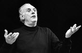 Dario Fo, Itallian actor, playwright and satirist in Mistero Buffo, a one man play staged at the Riverside Studios, London, 1983 - Stefano Cagnoni - 1980s,1983,ACE,acting,actor,actors,Arts,author,authors,cities,city,Culture,Dario Fo,drama,DRAMATIC,entertainment,Fo,historical drama,Italian,London,Mistero Buffo,play,PLAYING,satire,satirist,satirists