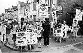 COHSE & NALGO One day strike against privatisation of services within the NHS, Barnet AHA, 1984. COHSE and NALGO trade union members at Colindale Hospital on strike and picketing against the use of ex... - Stefano Cagnoni - ,1980s,1984,against,Anti privatisation,Anti privatisation,anti privatization,BAME,BAMEs,black,BME,bmes,care,COHSE,Colindale Hospital,contracting out,DISPUTE,DISPUTES,diversity,ethnic,ethnicity,female,