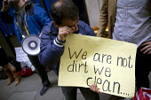 Protest by City of London cleaners on indefinite strike after half the migrant workers were sacked by Thames Cleaning. Demanding the London Living Wage they announced a hunger strike. The contractor s... - Jess Hurd - 29-06-2016