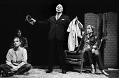 Maydays by David Edgar by RSC, The Barbican Theatre, London 1983. Don Fellows (C) with Anthony Sher (L) behind Lesley Sharp and Alison Steadman (R) - Stefano Cagnoni - 1980s,1983,ACE,act,acting,actor,actors,actress,actresses,Alison Steadman,Anthony Sher,Arts,cities,city,Culture,Don Fellows,drama,DRAMATIC,entertainment,FEMALE,historical drama,Lelsey Sharp,London,May