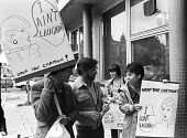 Varoomshka picket at the NUJ, London, 1983. NUJ trade union members picket NUJ HQ in protest at the cartoon appearing in their union journal The Journalist. It was considered to be sexist and therefor... - Stefano Cagnoni - 1980s,1983,activist,activists,against,banner,BANNERS,bigotry,CAMPAIGN,campaigner,campaigners,CAMPAIGNING,CAMPAIGNS,cartoon,CARTOONS,DEMONSTRATING,demonstration,DEMONSTRATIONS,DISCRIMINATION,DISPUTE,DI