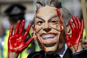 Stop the War protest on publication of the Chilcot Report on the Iraq war, QEII Centre, London, Tony Blair blood on his hands - Jess Hurd - 06-07-2016
