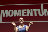 Francesca Martinez, Comedienne performing at Momentum, KeepCorbyn Labour Party rally for Jeremy Corbyn, Troxy, East London. - Jess Hurd - 2010s,2016,ace,campaign,campaigning,CAMPAIGNS,comedian,COMEDIANS,Comedienne,comedy,disabilities,DISABILITY,disable,disabled,disablement,East London,ENTERTAINER,ENTERTAINERS,FEMALE,Francesca Martinez,f