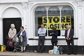 Shoppers and BHS Store Stratford-upon-Avon Warwickshire. 11,000 jobs go as the department store closes - John Harris - 2010s,2016,adult,adults,age,ageing population,bankrupt,bankruptcy,bought,buy,buyer,buyers,buying,close,closed,closing,closing down,closure,closures,commodities,commodity,communicating,communication,co