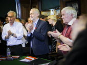 Durham Miners Gala 2016, Jeremy Corbyn and Dave Hopper DMA at an eve of gala public meeting at Redhills, the HQ of Durham area NUM Durham City, Co Durham. - Mark Pinder - 2010s,2016,applauding,applause,County Durham,Jeremy Corbyn,Labour Party,Left,left wing,Leftwing,meeting,MEETINGS,member,member members,members,MINER,Miners,MINER'S,MP,MPs,NUM,people,POL,political,poli