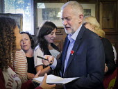 Durham Miners Gala 2016, Jeremy Corbyn at an eve of gala public meeting at Redhills, the HQ of Durham area NUM Durham City, Co Durham. Jeremy Corbyn signing an autograph for supporters after his speec... - Mark Pinder - 08-07-2016