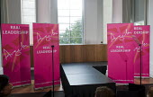 Empty podium awaiting Angela Eagle Labour Party launching her leadership bid. Prominent Labour women applauding at a press conference launching her bid to become Leader of the Labour Party, London, 20... - Stefano Cagnoni - 11-07-2016