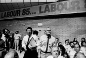 Labour Party Conference 1985 Derek Hatton and Tony Mulhearn, leaders of Liverpool City Council heckling Labour Leader, Neil Kinnock during his speech denouncing Militant and entryism into the Labour P... - Stefano Cagnoni - 1980s,1985,conference,conferences,Council,Derek Hatton,entryism,entryist,entryists,entyrism,expel,expelling,expulsion,heckle,heckling,Labour Party,Leader,Left,left wing,Leftwing,Liverpool,local author