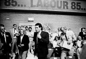 Labour Party Conference 1985 Derek Hatton and Tony Mulhearn, leaders of Liverpool City Council walking after a speech by leader Neil Kinnock denouncing Militant, entryism and the Liverpool City Counci... - Stefano Cagnoni - 1980s,1985,conference,conferences,Council,Derek Hatton,entryism,entryist,entryists,entyrism,expel,expelling,expulsion,Labour Party,leader,Left,left wing,Leftwing,Liverpool,local authority,marxist,Marx