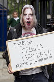 Protest about democracy as Theresa May enters 10 Downing Street as the new Prime Minister, Westminster, London. - Jess Hurd - 13-07-2016