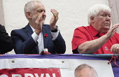 Dave Hopper DMA and Jeremy Corbyn, 2016 Durham Miners Gala, Durham City, Co Durham - Mark Pinder - 2010s,2016,age,ageing population,County Durham,Dave Hopper,Durham Miners Gala,elderly,Jeremy Corbyn,Labour Party,male,man,member,member members,members,men,MINER,Miners,MINER'S,NUM,old,people,person,p