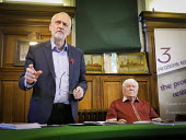 Dave Hopper DMA and Jeremy Corbyn,at an eve of the 2016 Gala public meeting at the Durham Area NUM HQ, Redhills, Durham City, Co Durham - Mark Pinder - 08-07-2016