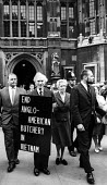 Vietnam Day lobby of Parliament, London, 1965. Renowned philosopher Bertrand Russell with his fourth wife, Edith Finch Russell, lobby against British involvement in the war in Vietnam. Ralph Schoenman... - Romano Cagnoni - 30-06-1965