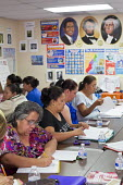 Las Vegas, Nevada - Immigrants studying for the U.S.A. citizenship test in a free class sponsored by the Culinary Union and the Clark County School District - Jim West - 12-07-2016